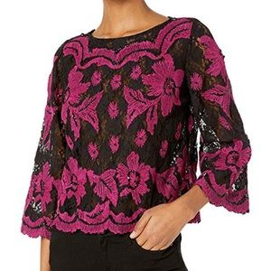 NWT Tracy Reese Embroidered Floral Crop Top XS
